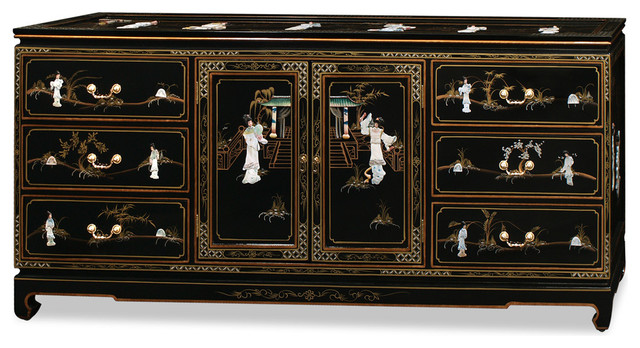 72 Black Lacquer Mother Of Pearl Motif Sideboard Asian Buffets And Sideboards