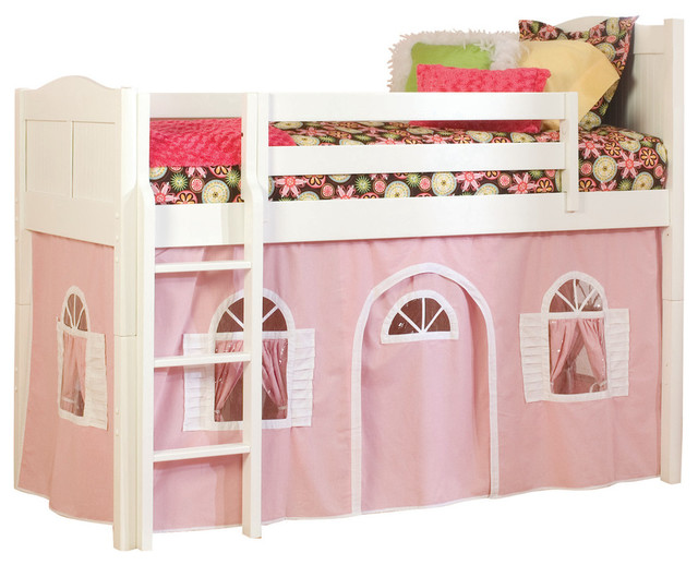 Cottage Twin Low Loft Bed White With Pink And Bottom Curtain
