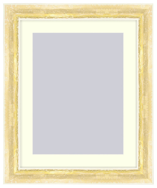 Wall Picture Frame Ivory And Gold Frame Has An Acid Free White Matte