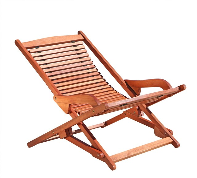 Outdoor Wood Reclining Folding Lounge Transitional Outdoor Folding Chairs
