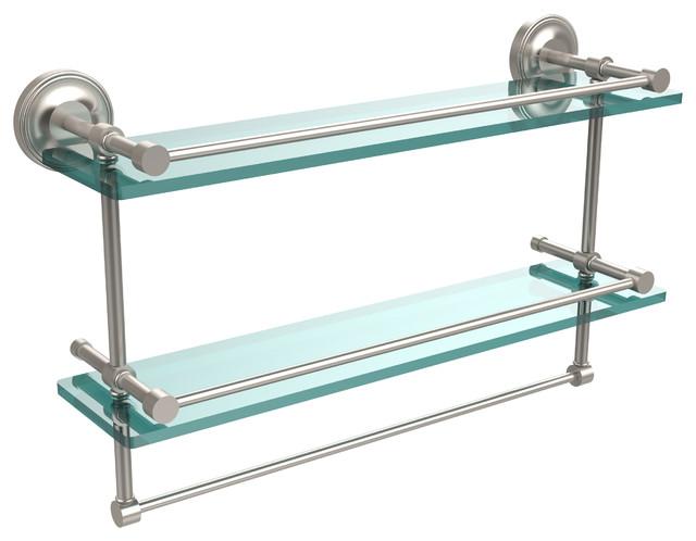 Glass Shelf With Towel Bar Satin Nickel Home Design