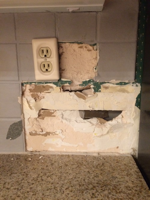 kitchen backsplash removal gone wrong