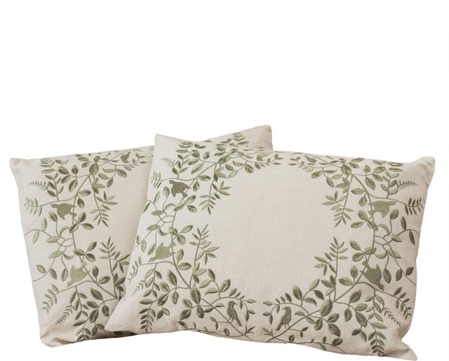 Quot beige green leaf embroidered throw pillows set of