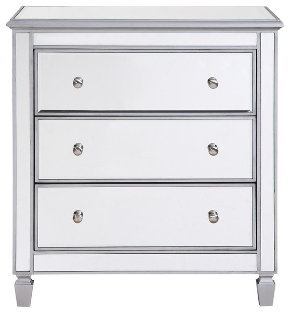 Chamberlan Clear Mirror 3 Drawer Bedside Cabinet