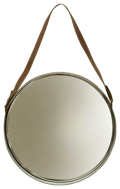 Leather Belted Farmhouse Round Wall Mirror, Silver Frame.