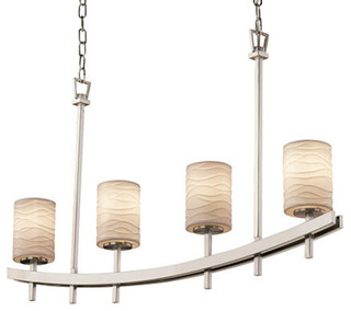 Limoges Archway Uplight Bar Chandelier, Cylinder With Flat Rim With Waves Shade - Chandeliers ...