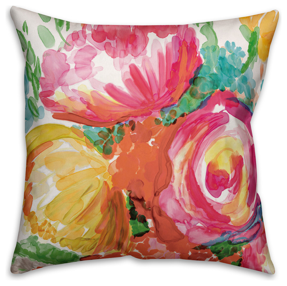 16 x 16 Deny Designs Madart Inc Blue And Yellow Florals Outdoor Throw Pillow