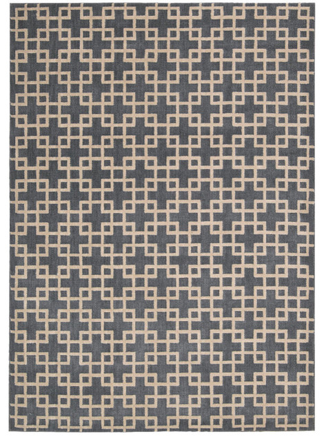 """Kathy Ireland Home Hollywood Shimmer Time Square Rug, Steel, 3'9""""x5'9"""""""