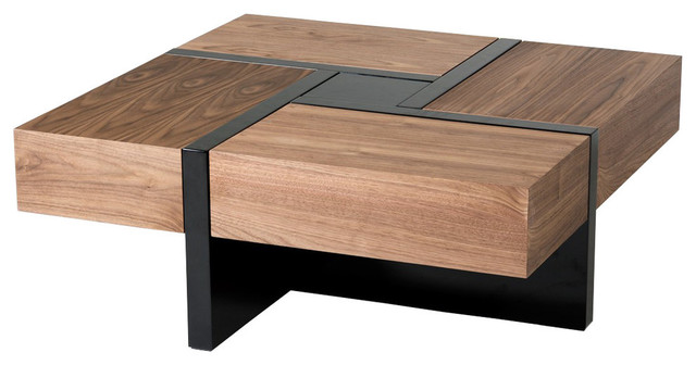Modrest Makai Modern Walnut and Black Square Coffee Table contemporary  coffee tables. Modrest Makai Modern Walnut and Black Square Coffee Table