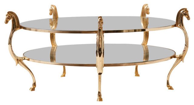 Luxe Gold Brass Horse Head Round Coffee Table Glass Shelf