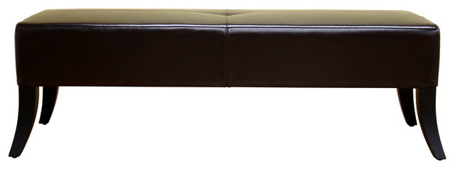 Danilo Dark Brown Leather Bench. -2