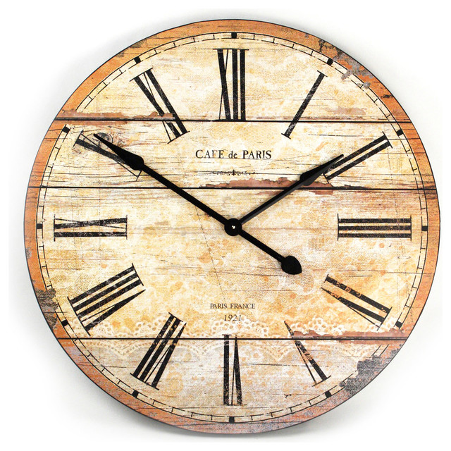 Cafe de Paris Rustic French Cottage Style Old Wood Wall Clock ...