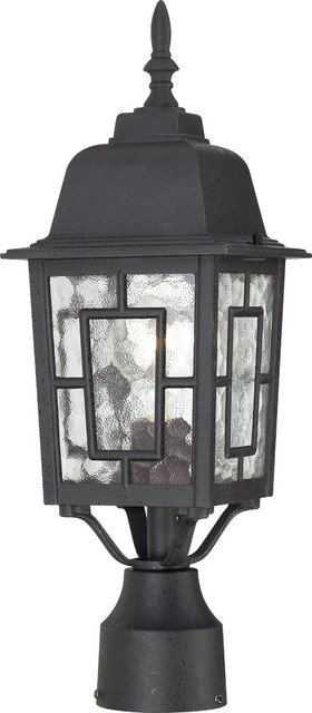 Banyan 1 Light - 17 Outdoor Post With Clear Water Glass.