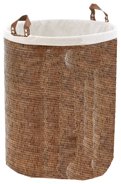 Dwba Malacca Single Round Spa Hamper Laundry Basket With Handles, Rattan.