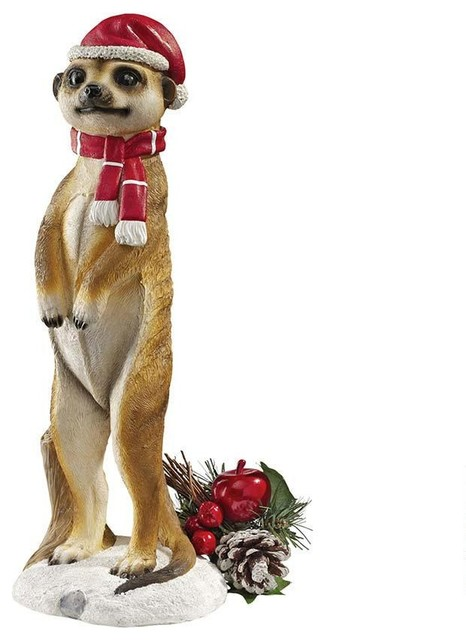 African Wildlife Meerkat Christmas Welcome Garden Statue
