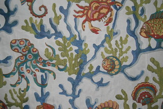 Crab Walk Aqua Fabric Beach Style Upholstery Fabric