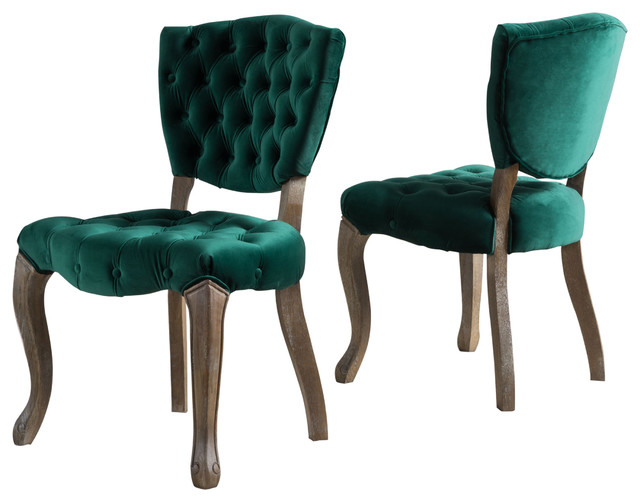 Charming Elizabeth Tufted New Velvet Fabric Dining Chairs, Set Of 2, Dark Green  Traditional