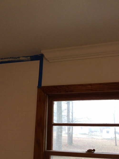 Crown molding transitions against tile shower for Transition windows for homes