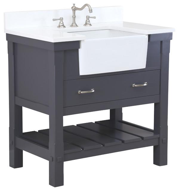 "Charlotte Bathroom Vanity, Charcoal Gray, 36"", Quartz Top, Single Sink"