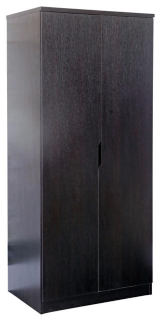 Dark Brown Finish 2 Magnet Closing Door Wardrobe With Hanging Rail..