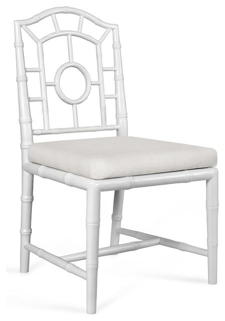 Fenn Hollywood Regency Linen White Chippendale Dining Side Chair