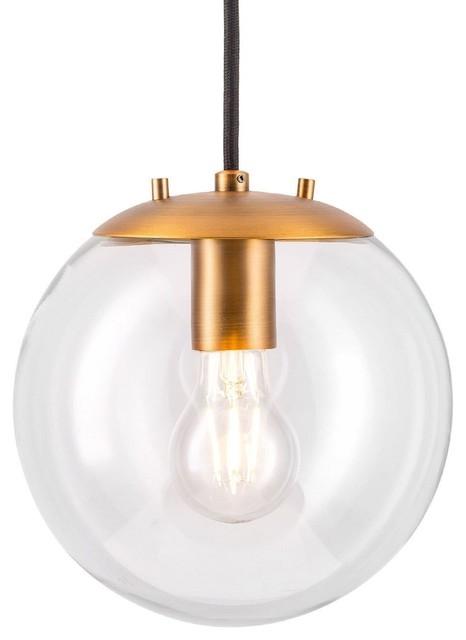Sferra Pendant Light With Bulb, Brushed Brass.