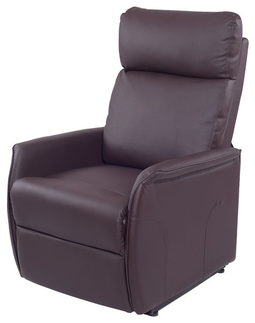 PU Reclining Electric Lift Sofa Chair With RC, Brown by Imtinanz