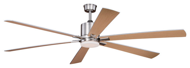 "Wheelock 72"" Ceiling Fan, Brushed Nickel With Maple-Silver Blades."