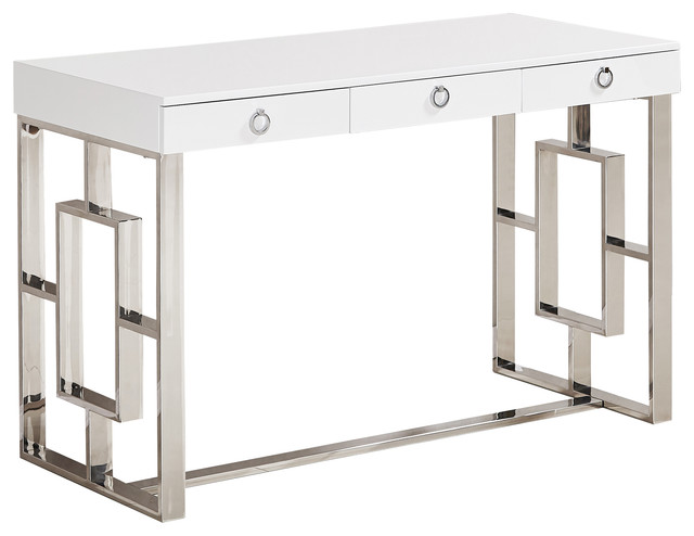 Brooks Contemporary 3-Drawer Writing Desk, Silver.