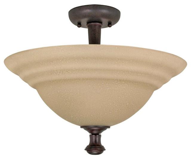 Old Bronze Energy Star Semi Flush Ceiling Light With Amber