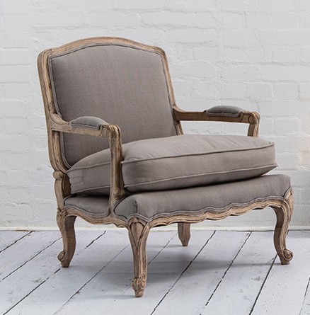 Armchair French Style Lille Chair In Putty Grey