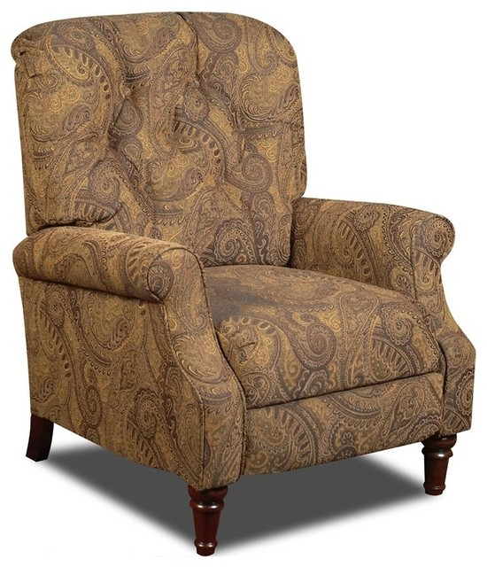 Traditional Tufted Recliner In Tobacco Traditional