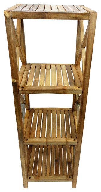 Solid Bamboo Square Shelves, Four Tiers.