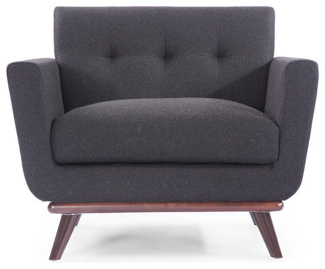 Jackie Midcentury Modern Classic Chair, Premium Fabric, Charcoal, Material:  Cash Midcentury