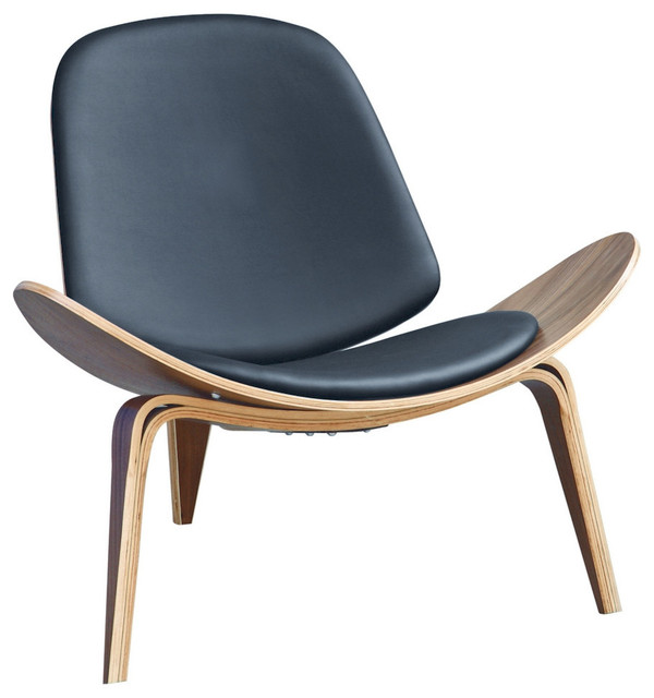 Fine Mod Imports Shell Chair Black Armchairs And Accent