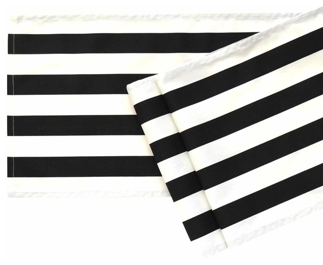 Black and White Striped Table Runner, 108u0026quot; - Contemporary ...