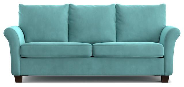 Modena Velvet Sofa, Turquoise