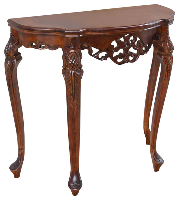 Half Moon Wood Console Table,brown Stain.