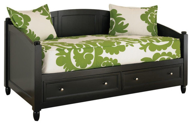 twin size black wood contemporary daybed with storage drawers daybeds by hearts attic. Black Bedroom Furniture Sets. Home Design Ideas