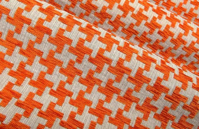 Great Scott Houndstooth Upholstery Fabric In Melon Contemporary