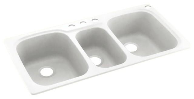 Swan 44x22x9 Solid Surface Kitchen Sink 4 Hole Kitchen