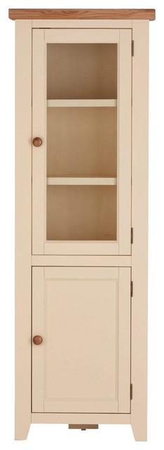 Champagne Painted Oak Corner Glazed Display Cabinet