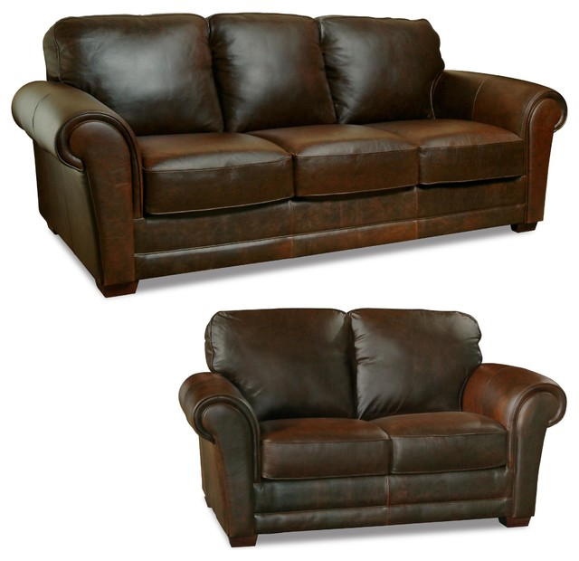 Mark Sofa And Loveseat Set Whiskey Transitional