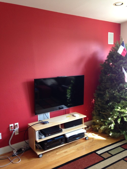 Christmas tree color scheme for our red accent wall?