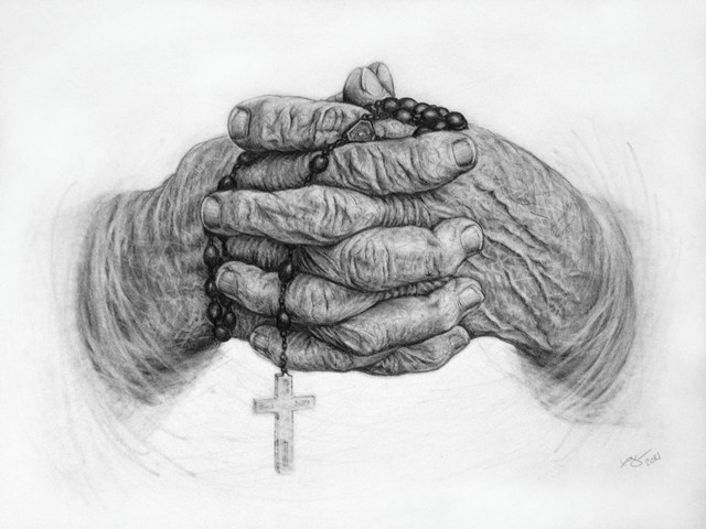 Wrinkled hands with rosary pencil drawing