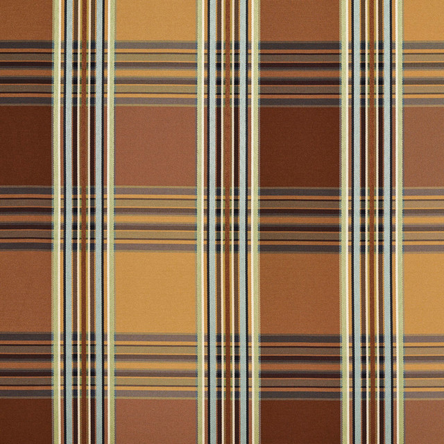 Gold Green Teal Brown Shiny Stripe Plaid Faux Silk Upholstery Fabric