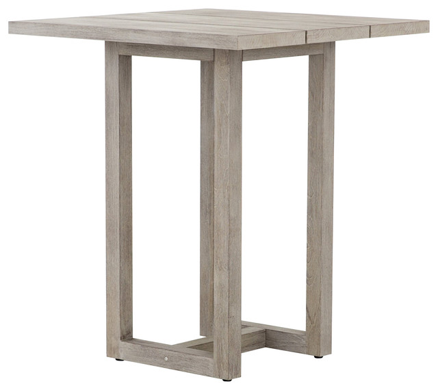 Ogalla Teak Outdoor Bar Table Gray Transitional Pub And Bistro Tables By Knack