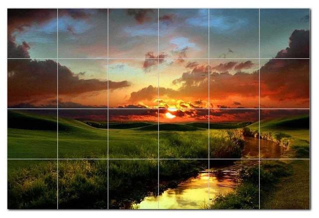 Sunset Picture Ceramic Tile Mural Kitchen Backsplash Bathroom Shower, 405984-L64
