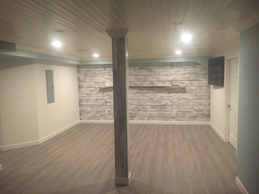 #shiplap wall with wood ceiling and color selections