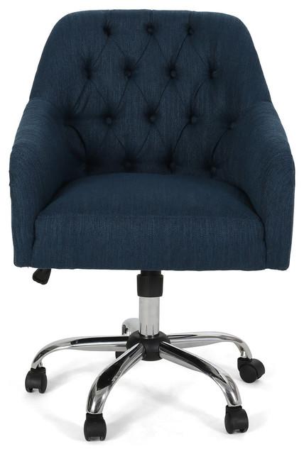 Home Office Computer Desk Chair Velvet Upholstery Diamante Swivel Executive Seat